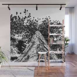 Squirrel View // Climbing Tall Tree Trunks // Winter Landscape Snowy Decor Photography Wall Mural
