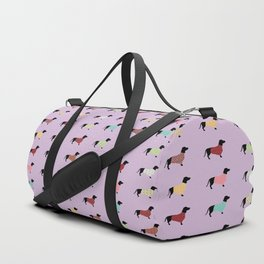 Dachshund Pattern with Purple Sweaters #251 Duffle Bag