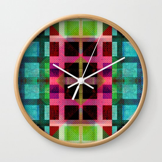 MELANGE OF SQUARES II Wall Clock
