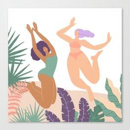 Girls At Beach Having Summer Fun Canvas Print