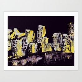 Yellow Purple Cityscape Art Print