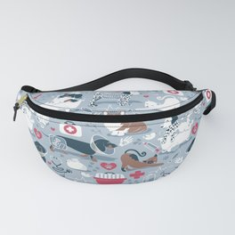 Veterinary medicine, happy and healthy friends // pastel blue background Fanny Pack