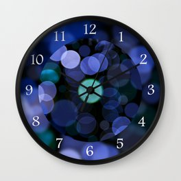 Blue bokeh circles blurry texture Wall Clock
