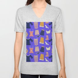 Colorful hanging clothes seamless pattern. Creative and modern graphic design. Vibrant colors. Unisex V-Neck