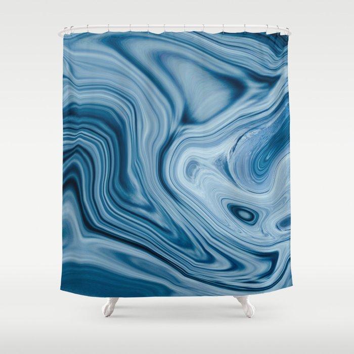 Splash of Blue Swirls, Digital Fluid Art Graphic Design Shower Curtain