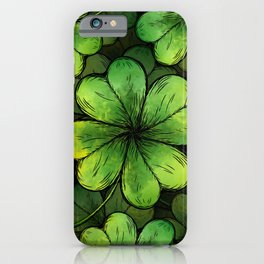 Four-leaf Lucky Clover Shamrock Pattern iPhone Case