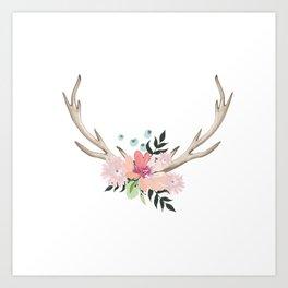 watercolor horns Art Print