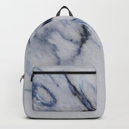 White Marble with Black and Blue Veins Backpack