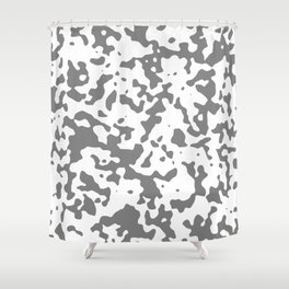 Spots - White and Gray Shower Curtain