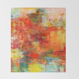 AUTUMN HARVEST - Fall Colorful Abstract Textural Painting Warm Red Orange Yellow Green Thanksgiving Throw Blanket