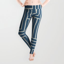 Linen White & Blue Art Decor Pattern 2 Inspired by Chinese Porcelain 2020 Color of the Year Leggings