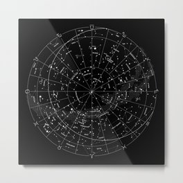 Constellation Map - Black & White Metal Print