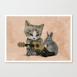 THE CAT AND THE RABBIT Canvas Print