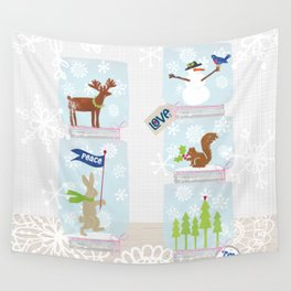 Woodland Snow Globes Wall Tapestry
