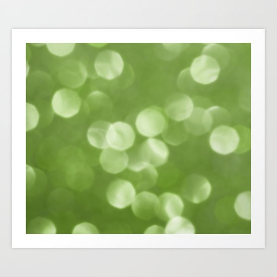 Sparkly Greenery Pantone bokeh Art Print