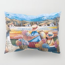 Peruvian Village Amid the Poppy and Calla Lily Fields in the Andes Mountains Pillow Sham