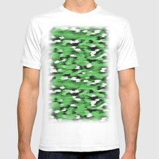 Green Leopard Pattern White Mens Fitted Tee MEDIUM