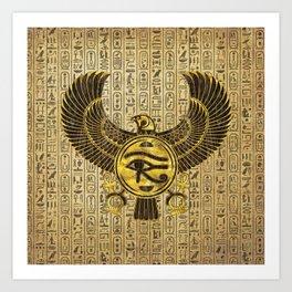 Egyptian Eye of Horus - Wadjet Gold and Wood Art Print
