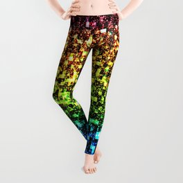 Geometric Galaxy Stars : Rainbow Leggings