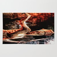 silent hill Area & Throw Rugs featuring Death By Medicine Silent Hill Nurses by Joe Misrasi