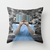 reading Throw Pillows featuring Reading by Maria Heyens