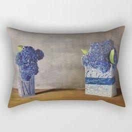 Blue Hydrangeas in Unique Chinese Vases Rectangular Pillow