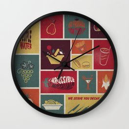 Vintage Food Collage Old Style Wall Clock