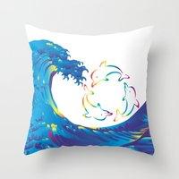 hokusai Throw Pillows featuring Hokusai Rainbow & rotating dolphins_D by FACTORIE