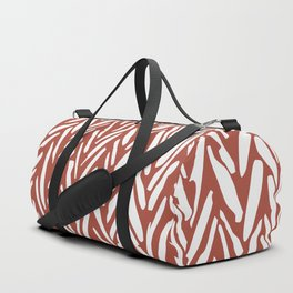 Bold contrast herringbone stripe pattern in rusty red Duffle Bag