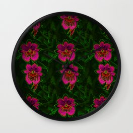 Hot Pink Tropic Orchids Wall Clock