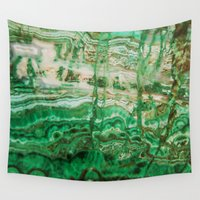 mineral Wall Tapestries featuring MINERAL BEAUTY - MALACHITE by Catspaws