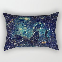 Pillars of Creation GalaxY  Teal Blue & Gold Rectangular Pillow