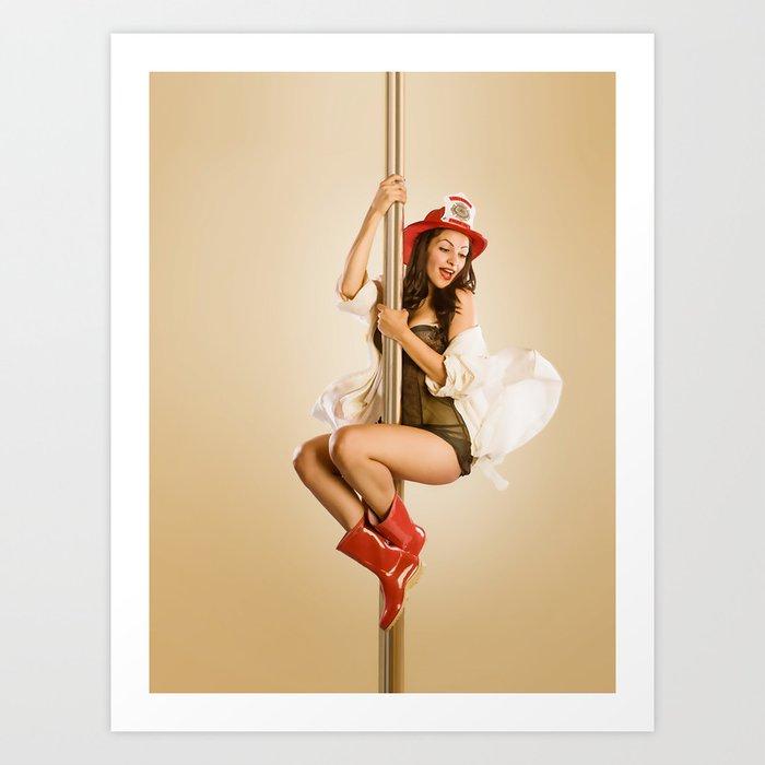 """Four-Alarm Flirt"" - The Playful Pinup - Firefighter Girl Pin-up by Maxwell H. Johnson Art Print"