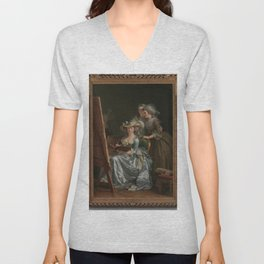 Adelaïde Labille-Guiard - Self-Portrait with Two Pupils, Marie Gabrielle Capet (1761–1818) and Marie Unisex V-Neck