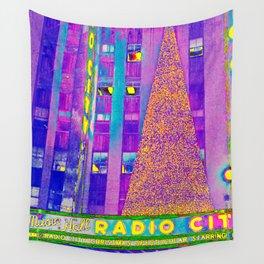 Radio City Music Hall with Holiday Tree, New York City, New York Wall Tapestry