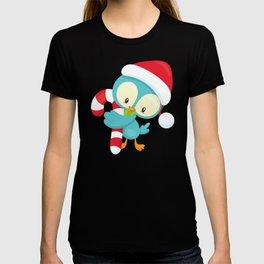 Christmas Bird, Cute Bird, Santa Hat, Candy Cane T-shirt