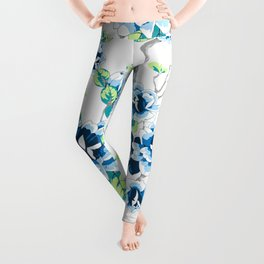 Chinoiserie Ming style Blue Floral on White Pattern Spring Flowers Shabby Chic Leggings