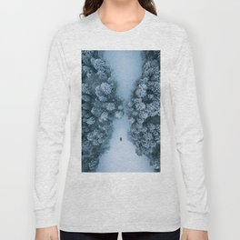 Man lying in the snow on a frozen lake in a winter forest - Landscape Photography Long Sleeve T-shirt