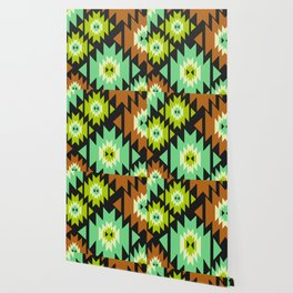 Ethnic shapes in green and brown Wallpaper