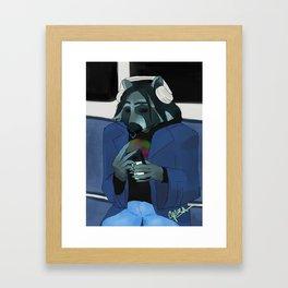 Raccoon self-portrait Framed Art Print