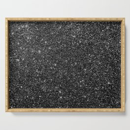 Black Faux Glitter Serving Tray