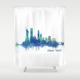 New York City Skyline Hq v06 cityscape Shower Curtain