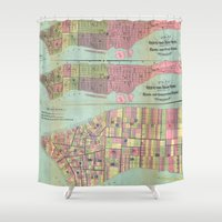 political Shower Curtains featuring Vintage NYC Political Ward Map (1870) by BravuraMedia