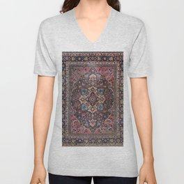 Persian Old Century Authentic Colorful Dusty Blue Pink Brown Vintage Patterns Unisex V-Neck