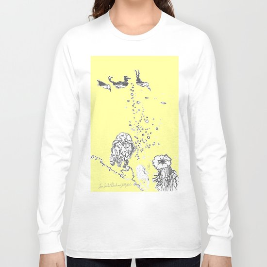 Two Tailed Duck and Jellyfish Baby Yellow  Long Sleeve T-shirt