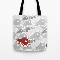 meat Tote Bags featuring mEAT by Firefly