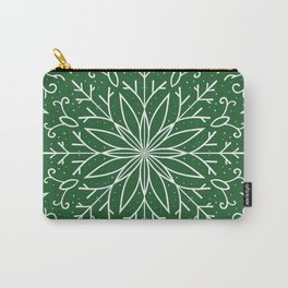 Single Snowflake - green Carry-All Pouch