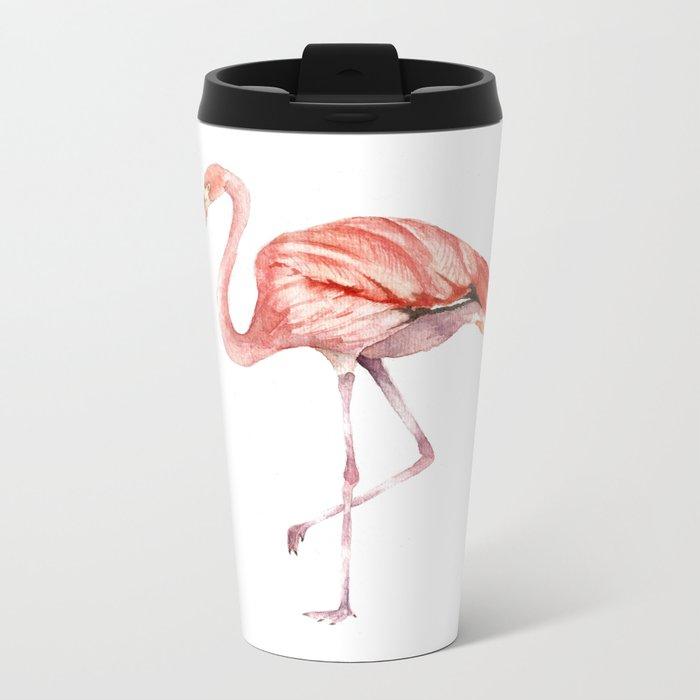 Pink Flamingo Metal Travel Mug