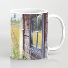 Late summer field view with old log cabin Coffee Mug