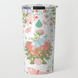 Abstract coral pink green butterfly floral illustration Travel Mug